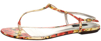 Dolce & Gabbana Multicolor Print Patent Leather Thong Flat Sandals Size 38