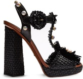 Dolce & Gabbana Faux pearl-embellished raffia and leather sandals