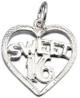 Charm & Chain Delightful Sterling Silver Sweet 16 Charm, Chain Not Included, Comes in a Free Gift Pouch.