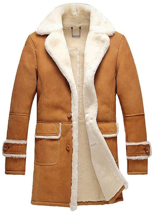 3ca385c20 Cwmalls Men's Shearling Sheepskin Trench Coat CW878604