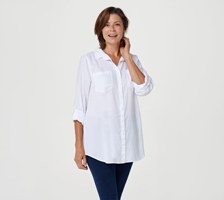 Side Stitch Button Front Tunic with Roll-Tab Sleeve