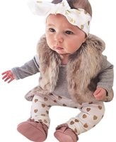 Cakaco_baby suit 1Set Newborn Baby Boys Girls Deer Tops Romper Pants Hat 3PCS Outfits Clothes