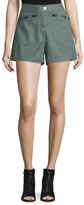 Derek Lam 10 Crosby Linen-Blend Sailor Shorts, Army