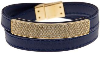 Swarovski Vio Crystal Accented Pave Leather Wrap Bracelet