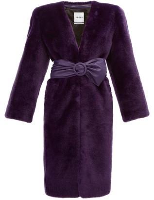 ATTICO The Exaggerated-shoulder Faux-fur Coat - Womens - Purple