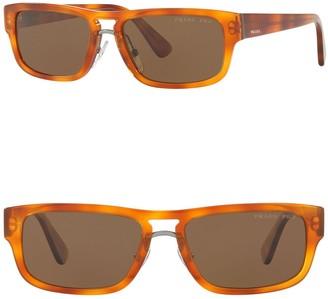 Prada 56mm Polarized Rectangle Sunglasses