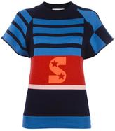 Stella McCartney short sleeved striped jumper - women - Cotton/Polyamide/Spandex/Elastane/Wool - 38