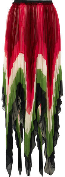 Gucci Plissé-silk Midi Skirt - Red