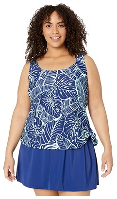 Maxine Of Hollywood Swimwear Plus Size Leaf A Peel Faux Skirtini One-Piece (Navy) Women's Swimsuits One Piece