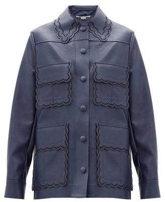 Stella McCartney Leila Scalloped Faux-leather Jacket - Navy
