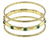 Ice Gold-Tone Vintage Inspired Bangle Bracelet Set with Green Glass Accents