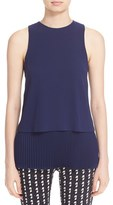 Theory Women's 'Anastaza - Winslow Crepe' Sleeveless Pleated Tiered Top