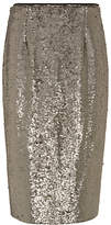 Mint Velvet All Over Sequin Skirt, Taupe
