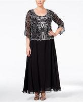 J Kara Plus Size Embellished A-Line Gown