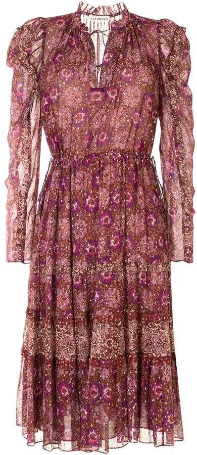 Ulla Johnson Tie Neck Floral Print Dress