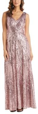 Night Way Nightway Petite Sequin V-Neck Gown