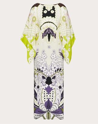 Valentino Printed Cady Kaftan Dress Women Lime/multicolor Silk 100% 36