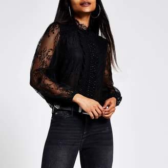 River Island Womens Petite Black sheer lace long sleeve blouse