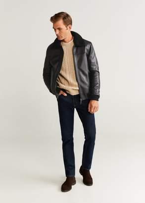 MANGO MAN - Faux shearling nappa aviator jacket black - XS - Men