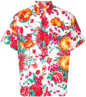 MSGM Short-Sleeved Floral Print Shirt