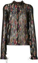 Saint Laurent metallic embroidered blouse - women - Silk/Lurex - 38