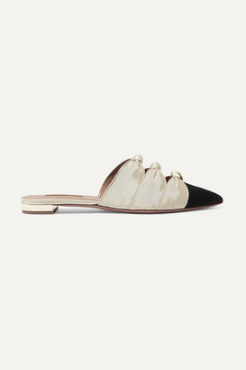Aquazzura Mondaine Two-tone Knotted Faille Slippers - Black