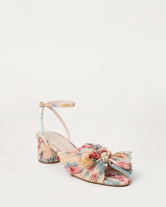 Loeffler Randall Dahlia Bow Low Heel with Ankle Strap Floral