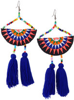 Panacea Embroidered Semicircle Tassel Drop Earrings, Navy Multi