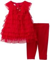 Pippa & Julie Mesh Tiered Dress and Legging Set (Baby Girls)