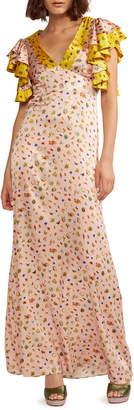 Cynthia Rowley Pamela Flutter-Sleeve Stretch Silk Maxi Dress