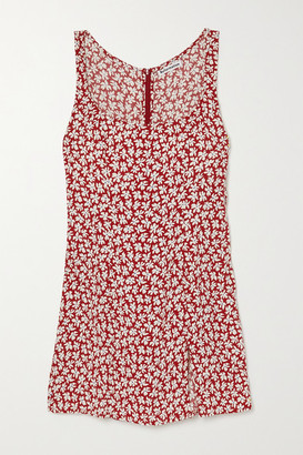 Reformation Noha Floral-print Crepe Mini Dress - Red