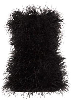 ATTICO The Strapless Ostrich-feather Mini Dress - Womens - Black