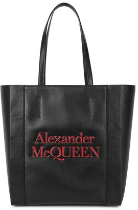 Alexander McQueen Signature small black logo leather tote