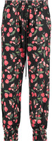 Mother of Pearl Roswell Faux Pearl-Embellished Floral-Print Twill Tapered Pants