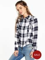 V By Very Petite Long Sleeve Check Ruffle Shirt