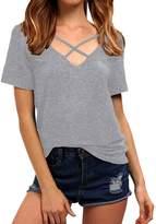 SUNNOW Women Summer Bandage Cross Front Tops Deep V Neck Casual Teen Girls Tees T Shirts (S, )