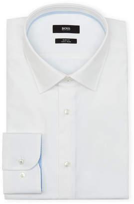 HUGO BOSS White Solid Slim Dress Shirt
