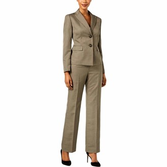 Le Suit LeSuit Women's Shadow Stripe 2 Button Peak Lapel Pant