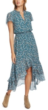 1 STATE Printed High-Low Midi Dress