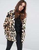 Asos Swing Coat in Leopard Faux Fur