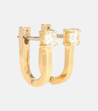 Melissa Kaye Aria U 18kt gold and diamond hoop earrings