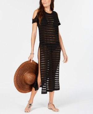 Calvin Klein Crochet Striped Cold-Shoulder Cover-Up, Created for Macy's Women's Swimsuit