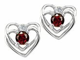 Tommaso design Studio Tommaso Design Round 4mm Genuine Garnet and Diamond Heart Earrings 14k