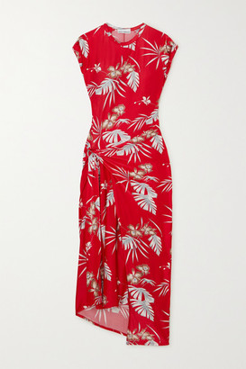 Paco Rabanne Floral-print Stretch-jersey Wrap Midi Dress - Red
