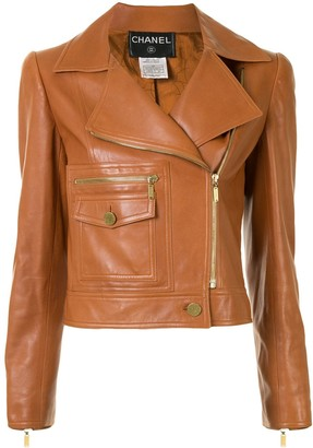 Chanel Pre Owned 2001 CC buttons biker jacket