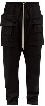 Rick Owens Creatch Cotton Jersey Cargo Trousers - Mens - Black