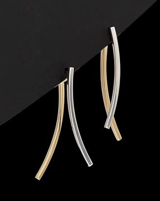 Italian Gold 14K Two-Tone Curved Bar Earrings
