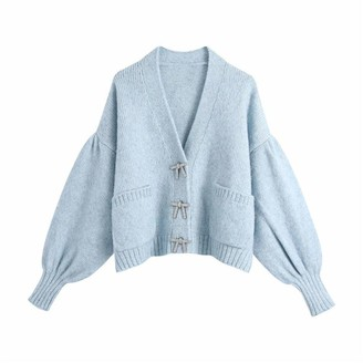YTYH Sweaters Knitted V Neck Blue Cardigans Tops Female Casual Long Lantern Sleeve Double Pockets Blue S