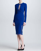 Roberto Cavalli Lace Keyhole Long-Sleeve Dress