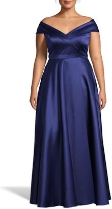 Xscape Evenings Off the Shoulder Satin Ballgown (Plus Size)